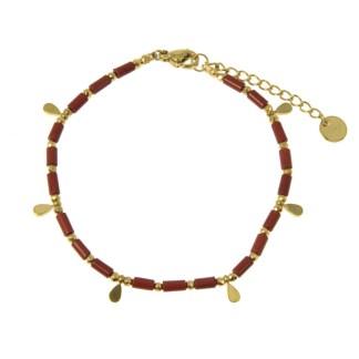 Bracelet Les Cleias acier inoxydable Aya jaspe rouge