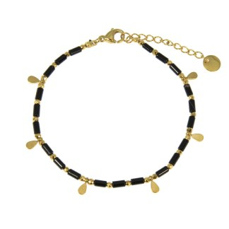 Bracelet Les Cleias acier inoxydable Aya onyx