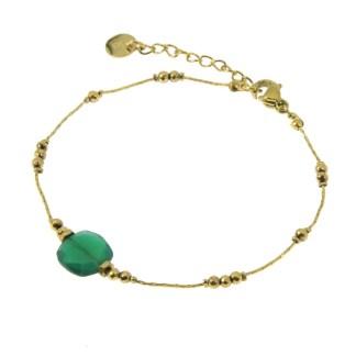 Bracelet Les Cleias acier inoxydable Victorine aventurine