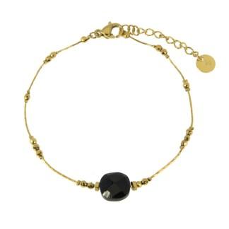 Bracelet Les Cleias acier inoxydable Victorine onyx