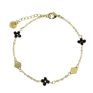Bracelet Les Cleias plaqué or Lila noir