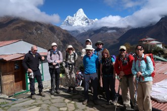 A blue sky day and a view of Ama Dablam