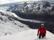 High on the East ridge of Dixon - Tasman Glacier Below