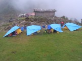 Chalem Kharka campsite in the late afternoon clag