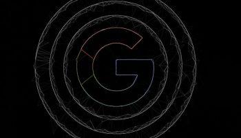 Чёрный логотип Гугл на чёрном фоне