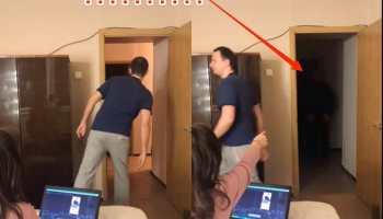 Два скриншота видео ТикТок, где мужчина и женщина находятся в одной комнате, а в тёмном коридоре видно нечёткую фигуру