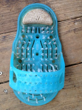 As Seen On TV. There aren't enough bristles in the brushes to get your feet clean, and it takes up space in the shower. And has mildew on it. TRASH.