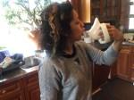 Nadia using her mug