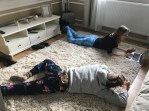 Stretching out on the floor