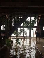 The bath house in a renovated barn