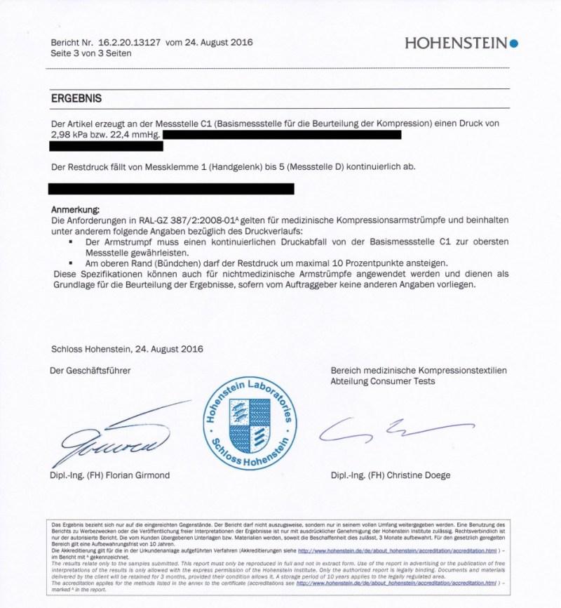 Prüfbericht Kompression VERTICS.Sleeves vom Institut Hohenstein