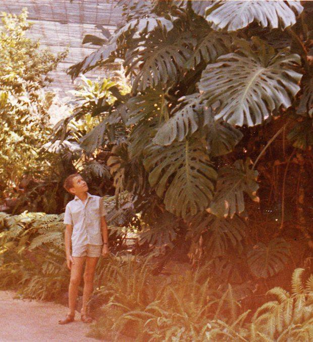 Patrick Blanc als kleiner Junge vor tropischen Gewächsen