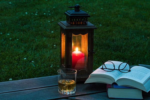 Lektüre im Garten in der Dämmerung. Foto: Pixabay.