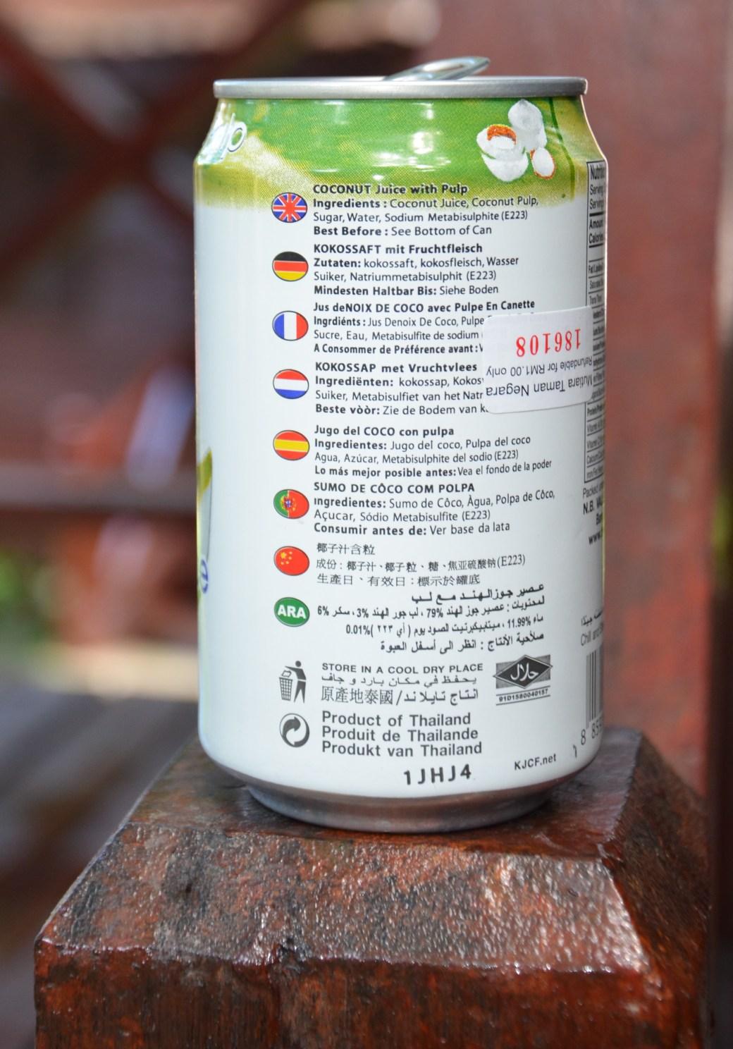 Dose Thailändischer Kokosaft mit deutscher Aufschrift