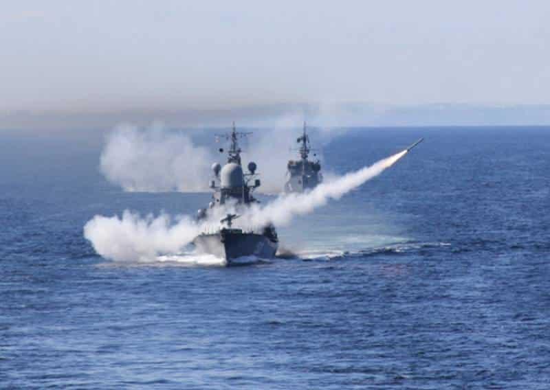 залп с надводного корабля ВМФ РФ
