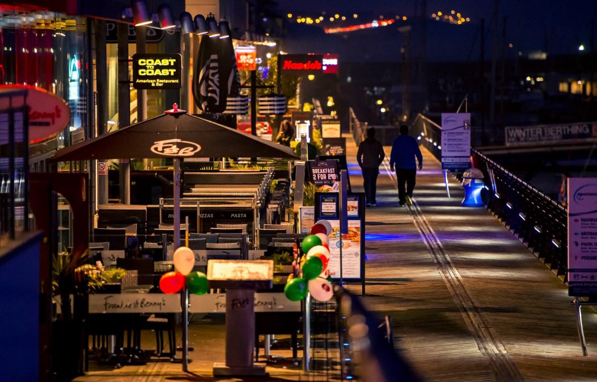Stock imagery for Brighton MarinaView_of_Brighton_Marina_boardwalk_at_night