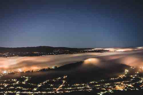 Ariel view of fog at night