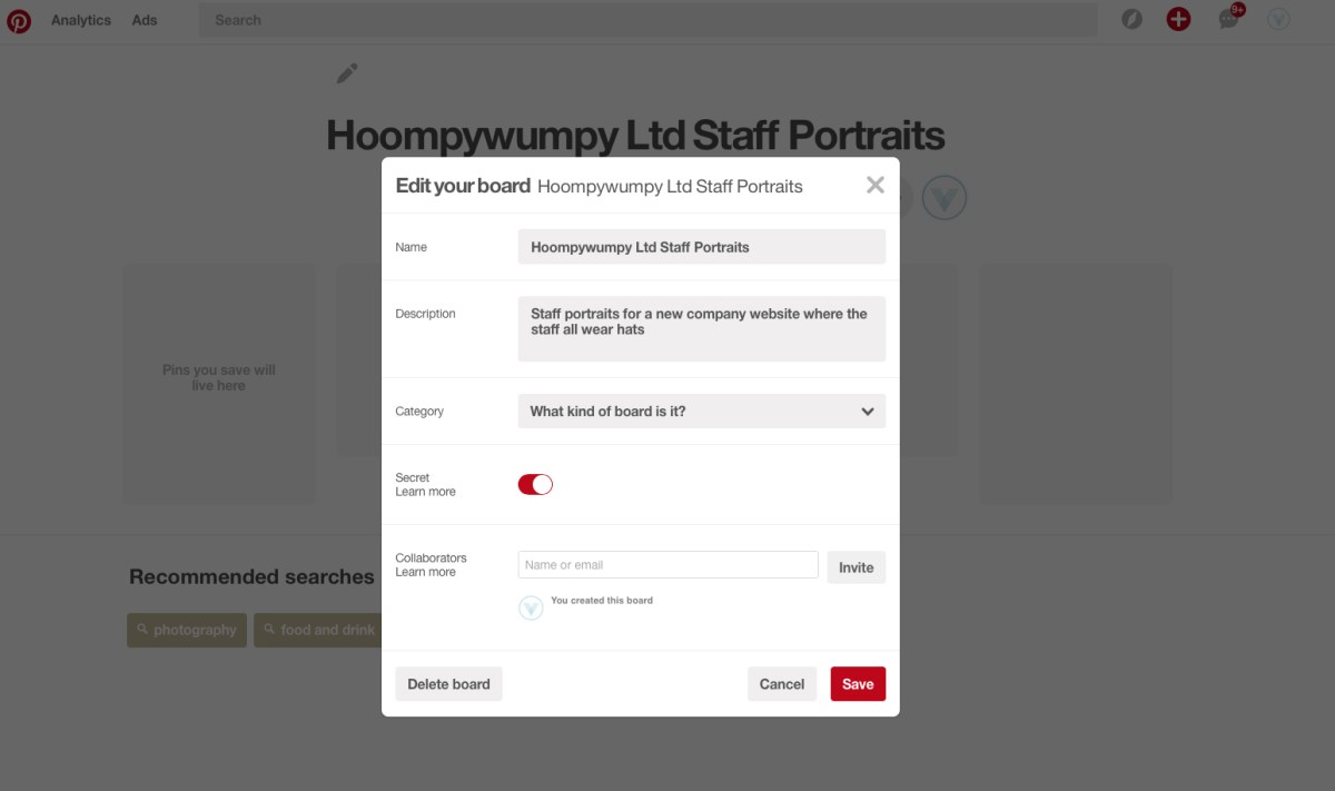 screenshot of a private pinterest board being created