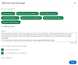 LinkedIn summer 21 updates - Services Page