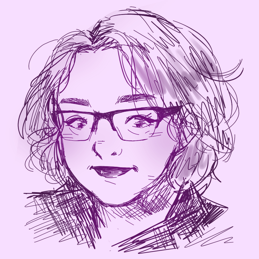 Sketch portrait of Verylisa in shades of purple