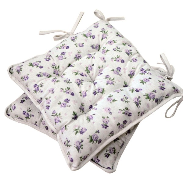 Soft cotton chair cushion with purple roses