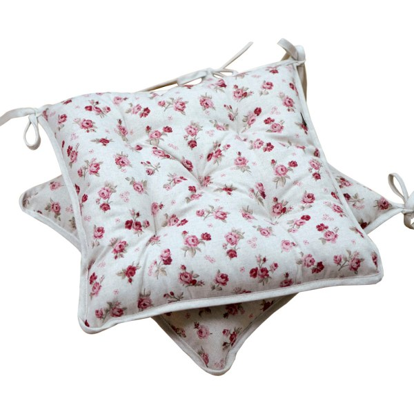 Chair cushion with red roses