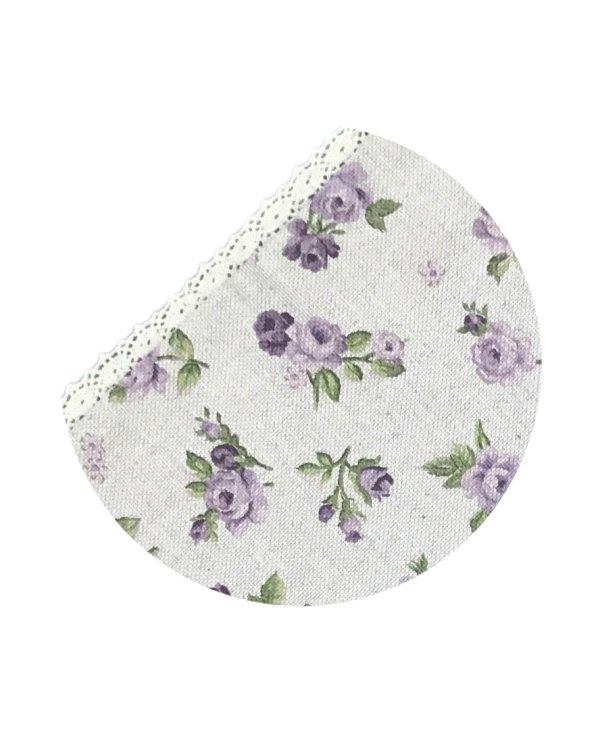 cotton apron lilac roses