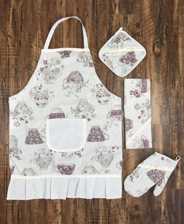veryandvery cotton apron purple cups