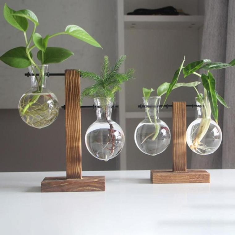 unique wood and glass vases
