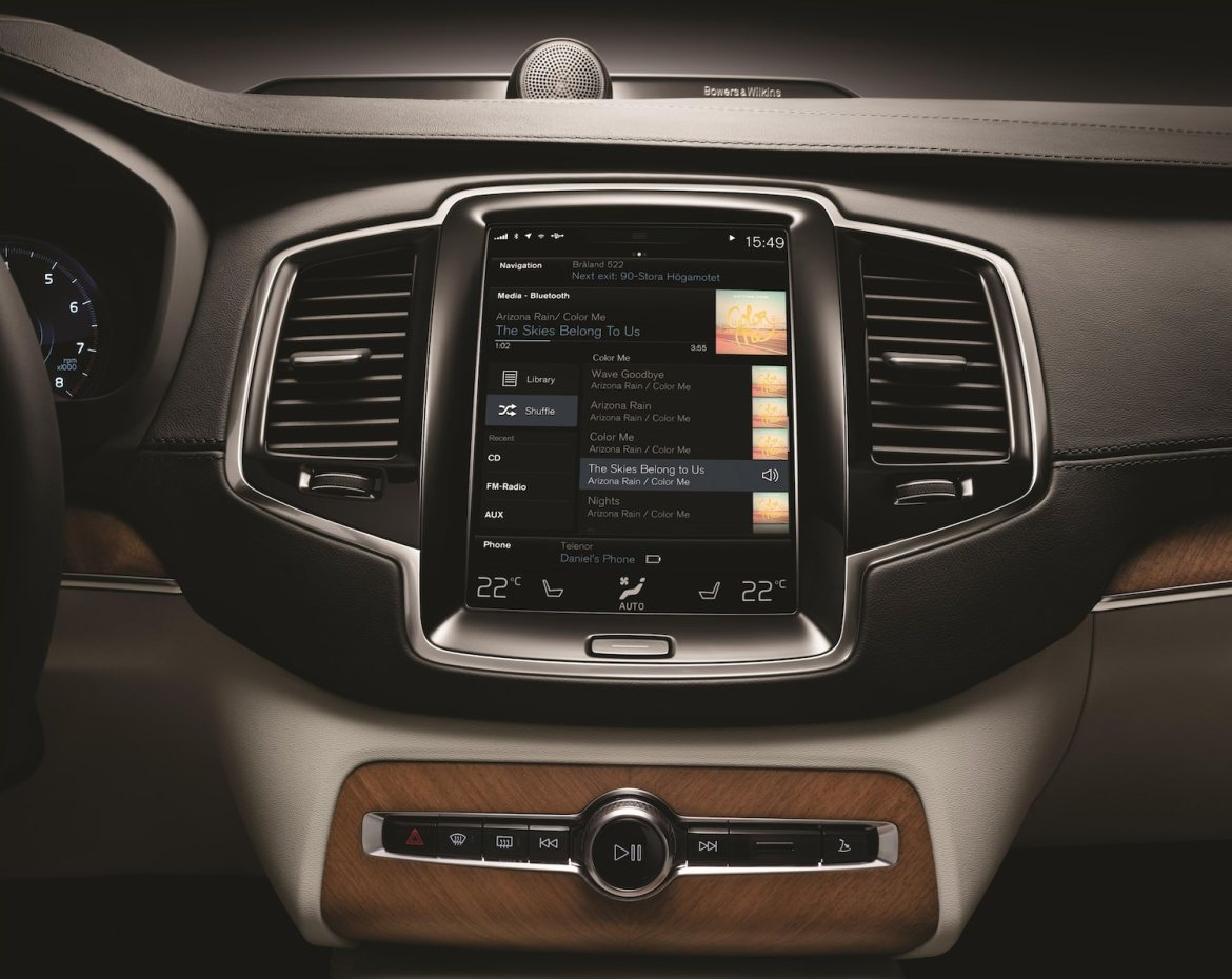 Nouveau Volvo XC90 2014 Stockholm console centrale tactile apple car play android
