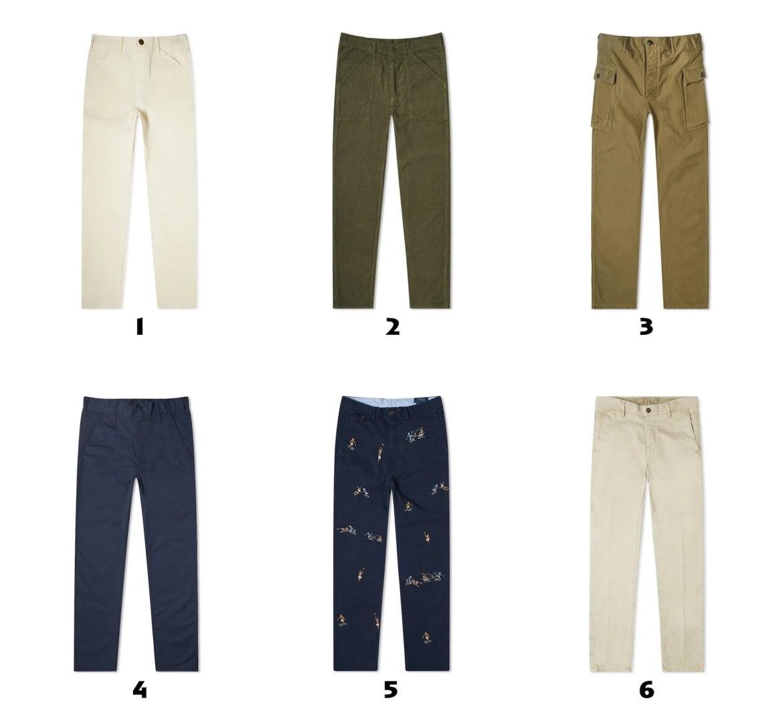 selection de pantalons chino pour homme