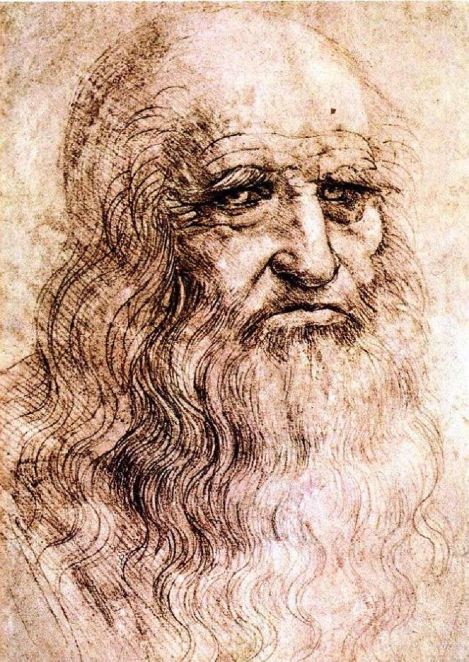 Сангина. Леонардо да Винчи.  Рисунок «Туринский автопортрет», XVI век