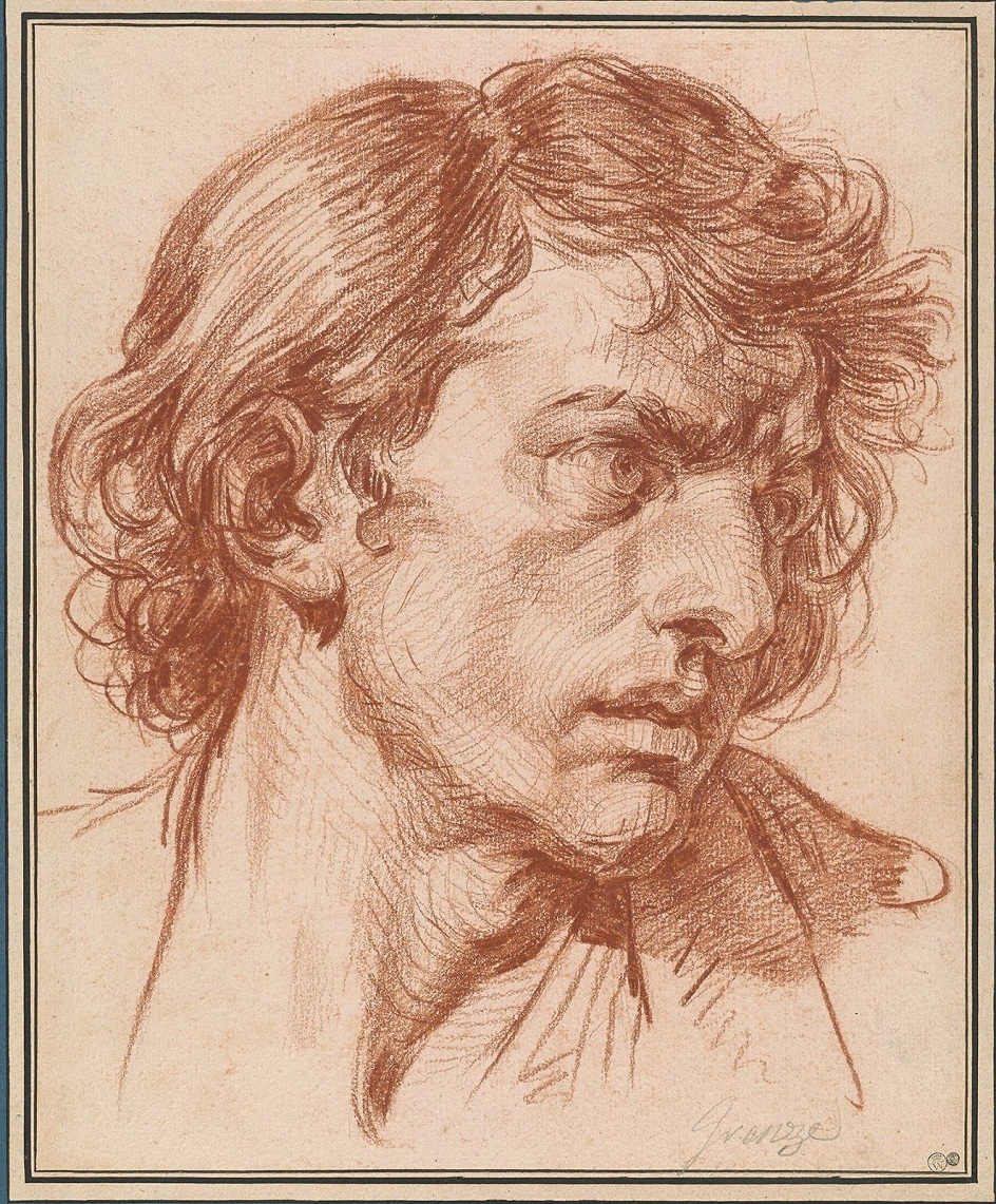 Сангина. Жан-Батист Грез. Портретная зарисовка. XVIII век