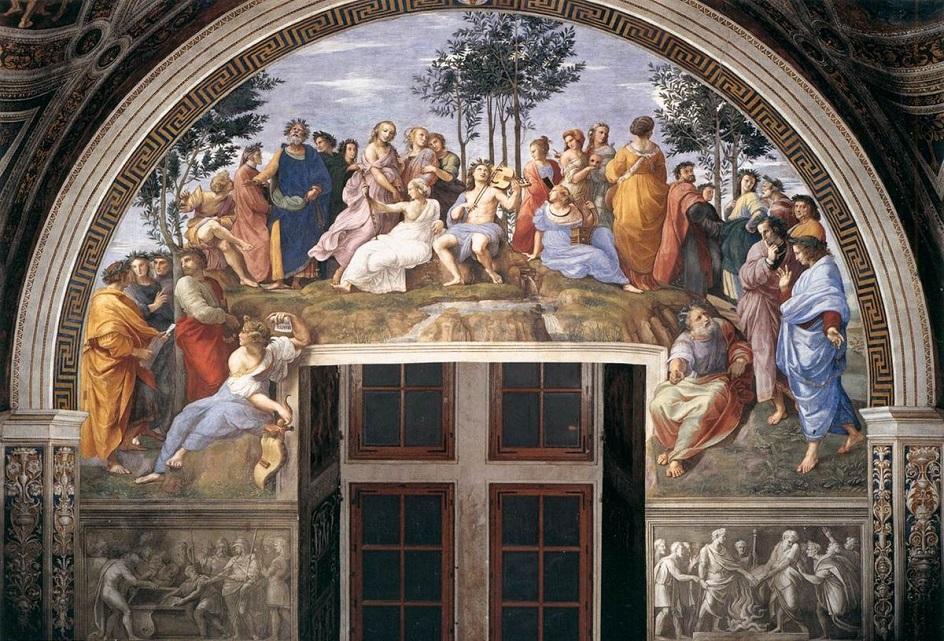 """Τοιχογραφία. Rafael Santi. """"Parnas"""", 1510"""