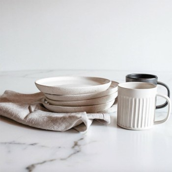 Ceramic dinnerware set made ethically and locally available on Chic and Basta