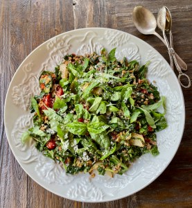 Farro with Roasted Tomatoes, Greens and Pesto