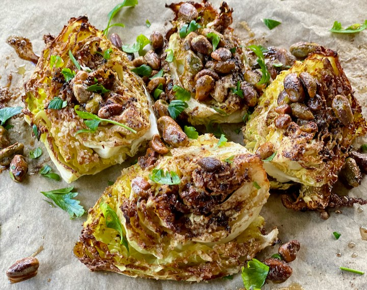 Cumin Charred Cabbage Wedges with Pistachios and Spiced Butter