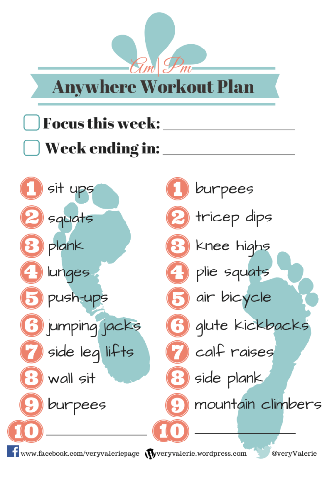 Free Printable: Am/Pm Workout Plan  (2/3)