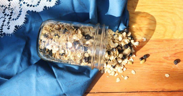 Vegan White Chocolate Granola with Wild Blueberries