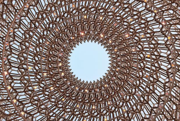 Wolfgang Buttress tasarımı, bir balarısının global besin zinciri ve ekosistemdeki serüvenini takip eden arı kovanı temelli Birleşik Krallık pavyonu.