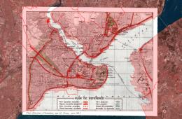 Fransız şehir plancısı ve mimar Henri Prost'un 1937'de hazırladığı şehir planı mevcut İstanbul haritasının üzerinde.