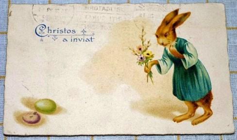 iepuras de Paste cu flori si oua - Christos a inviat 1929 - perioada interbelica vintage