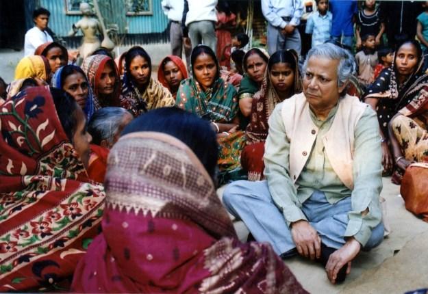 Prof. Muhammad Yunus with Grameen members