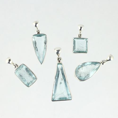 aquamarine 1815036517 Aquamarine, Pendant, Faceted Edge Transparent Gemstone, Assorted Shapes Vesica Institute for Holistic Studies