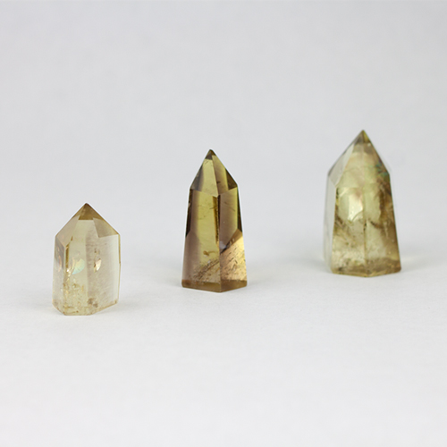 citrine 4 Citrine, Smoky, Lemon-Lime, Small Polished Standing points Vesica Institute for Holistic Studies