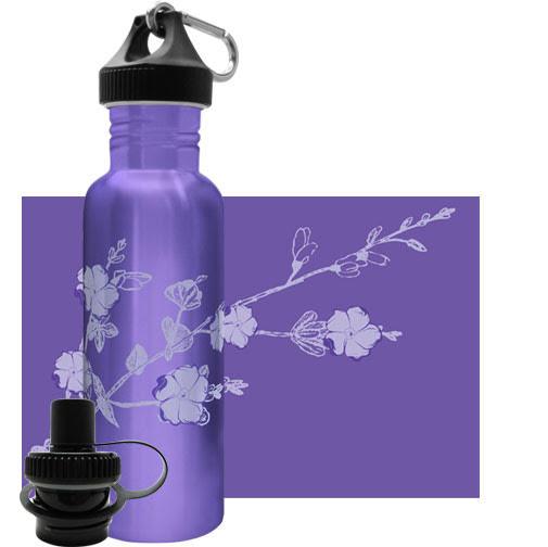 «Цветение Вайолета». Бутылочка для воды из нержавеющей стали. 750 мл