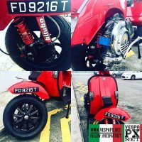 Fully restore Vespa PX200 by @thehivekb Engine rebuild with Quatrinni M232, Polini venturi, 2626 carb, front n rear Bitubo classic absorber, 12 inch conversion rims n tyre, ferarri red paint werk by @bangone80_project by  @thehivekb .Owner collecting on 29 April 2016