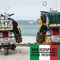 Vespa touring and travel with classic Vespa PX