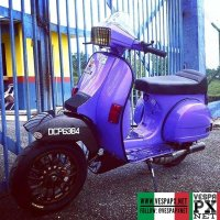 "Vespa PX with custom Vespa Sprint 12""  wheels  @msc.scooter ・・・ Happy weekend.. Let's ride rock and roll #18500"
