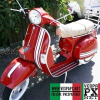 Vespa PX in red Italian racing stripes